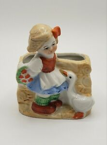 Vintage Hand Painted Girl and Goose Planter