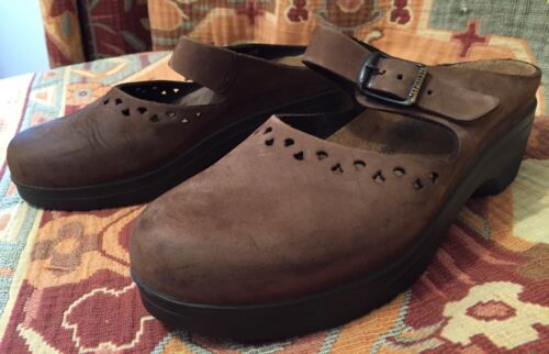 Details about  /MEPHISTO Brown Suede Leather Clogs Flats Slides Mary Jane Shoes Wmen EU 39 US 8