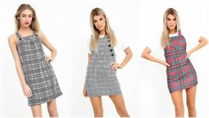 af8479b1e1 Image is loading New-Chic-Ladies-Check-Tartan-Pinafore-Skater-A-