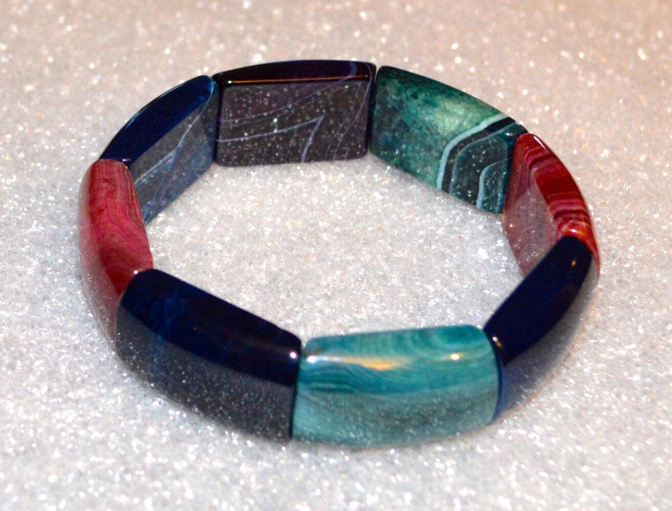 Gorgeous Natural Agate Onyx Wrist Wrap Healing Bracelet