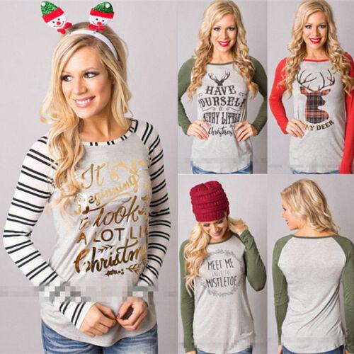 Women Christmas Fashion Xmas Long Sleeve Tee Casual Tops Loose T-Shirt