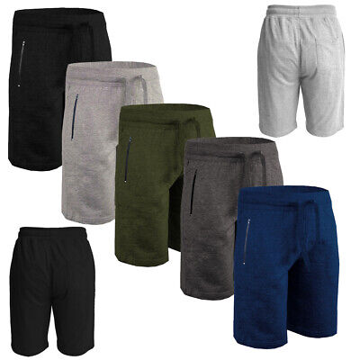 Mens Gym Shorts Zip Pockets Jogging Running Joggers Elasticated Bottoms Shorts