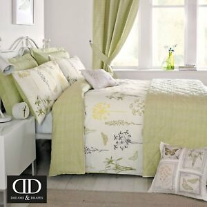 Dreams-amp-Cortinas-botanique-Cubierta-Edredon-Reversible-de-facil-cuidado-Dormitorio-Gama-Verde