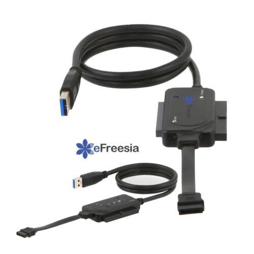 "Lot 2 x eFreesia USB 3.0 to SATA IDE 2.5/"" 3.5/"" 5.5/"" Hard Drive Converter cable"