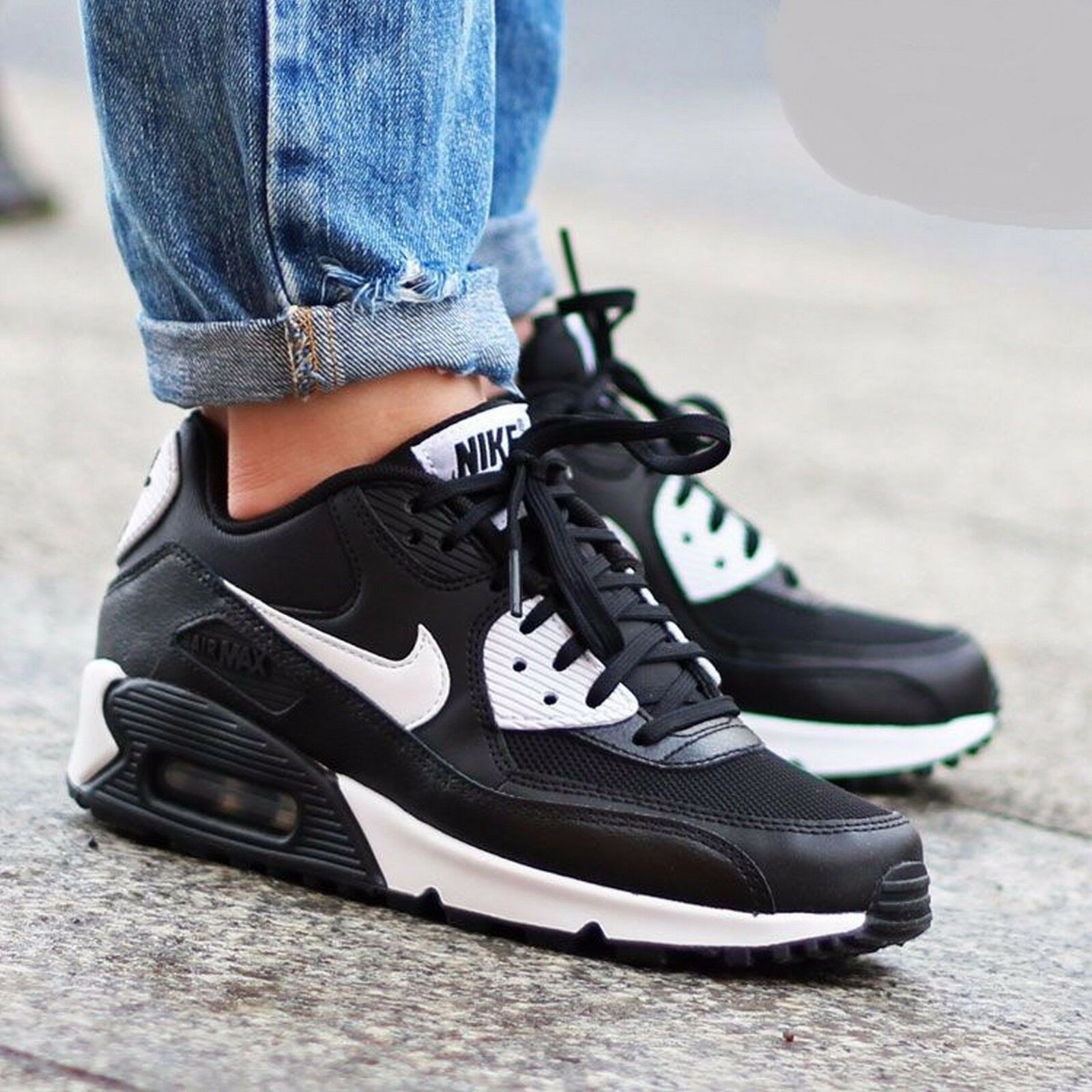 Nike Air Max 90 Essential Black/White-Metallic Silver 616730-023 Wmn Sz 6.5