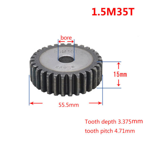 1.5M Spur Gear 12T-90T Tooth Gear 15mm Thick 45# Steel Mod 1.5 Metal Motor Gear