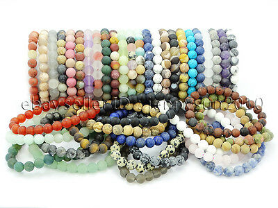 Handmade 8mm Matte Frosted Natural Gemstone Round Bead Stretchy Bracelet Healing