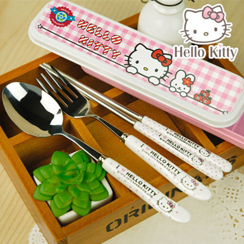 Hello Kitty 3 pieces Ceramic Stainless Steel Dinner Set Fork Scoop Free Shipping