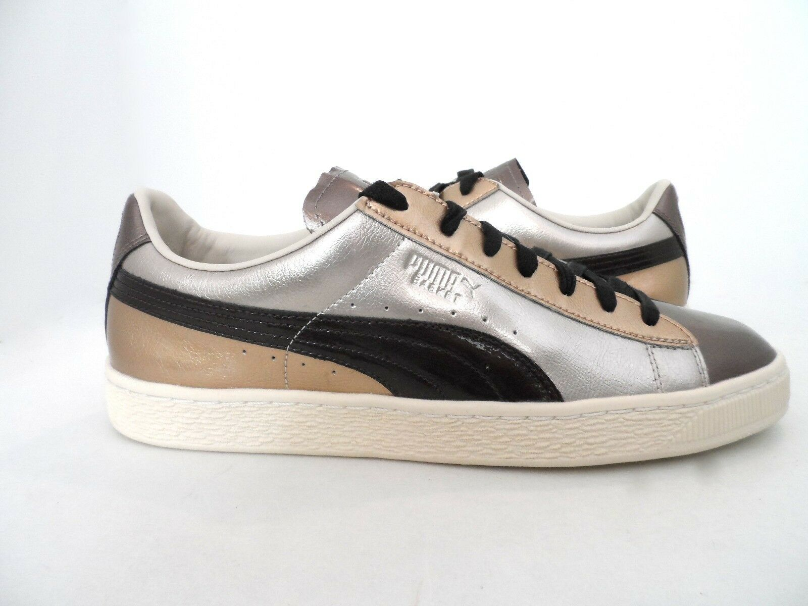 PUMA Mens Basket Broken Bauble FM Leather Sneaker Gold Comfortable