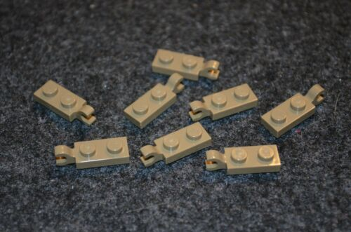 8 2x1 Dark Tan Plate w// Vertical Clip Brick Bricks ~ Lego ~ NEW ~