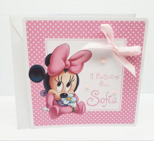 Invitation Minnie Baby Baptism Birthday Custom full print