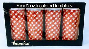 Vintage-Thermo-Serv-Insulated-Tumbler-Set-of-4-12-Oz-NOS-New-NIB-w-Box-Gingham