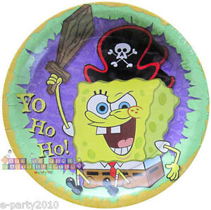 Image is loading SPONGEBOB-SQUAREPANTS-Pirate-SMALL-PAPER-PLATES-8-Birthday-  sc 1 st  eBay : pirate paper plates - pezcame.com