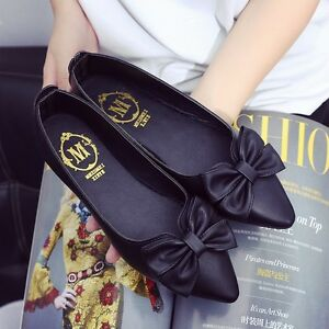 New-Casual-Women-Lady-Pointed-Toe-Bowknot-Flats-Classic-Slip-On-Pump-Boat-Shoes