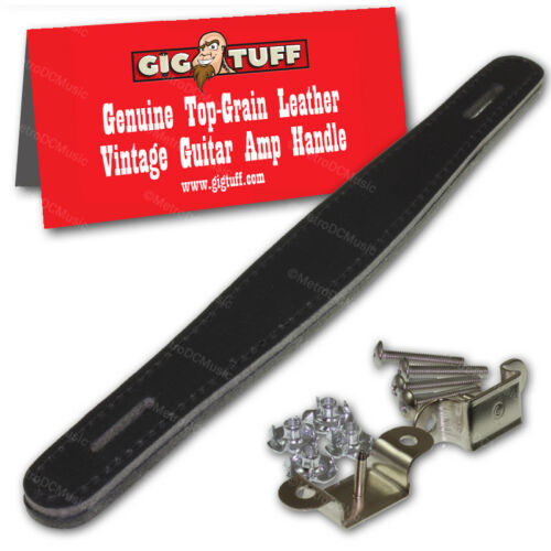 2-Pack Gig Tuff Genuine Top Grain Leather Amplifier Handle Strap Black//Black