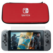 Red Hard Protective Case Bag & Screen Protector For Nintendo Switch console game