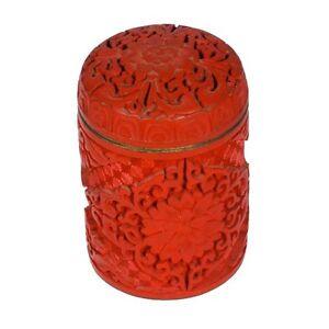 Chinois-Antique-Grand-Cylindrique-Cinabre-Bibelot-Boite