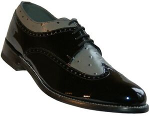 Mens Black and Grey Formal Spectators Wingtip Shoes
