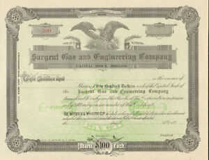 Sargent-Gas-and-Engineering-Company-gt-189-Maine-stock-certificate-share
