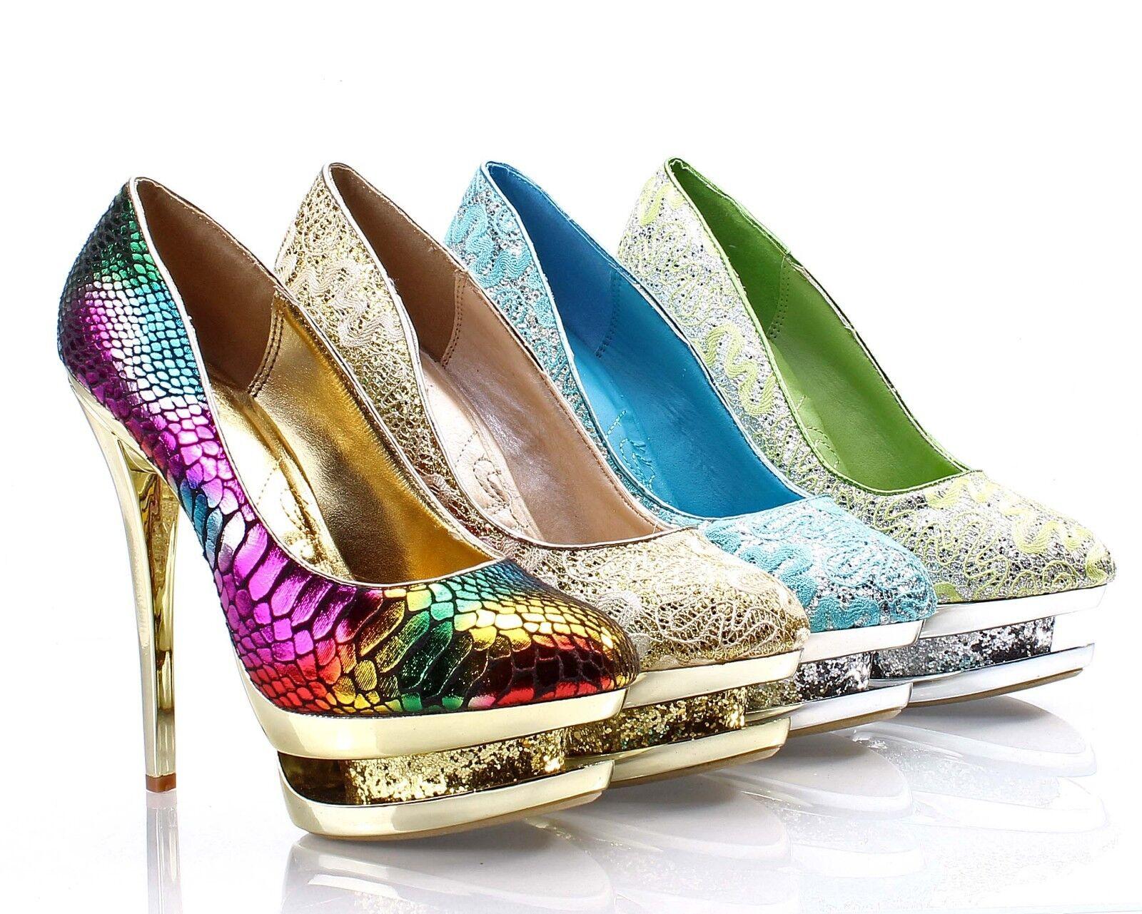 Round Toe Sexy Stilettos Platforms Glitter High Heels Womens Evening shoes