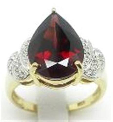 Natural 7.0ct Garnet & 12 Diamond 9ct 9K 375 Solid gold Ring - Bravo Jewellery