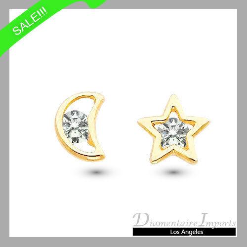 0.02 CTW Star & Moon Stud Earrings 14k Yellow gold