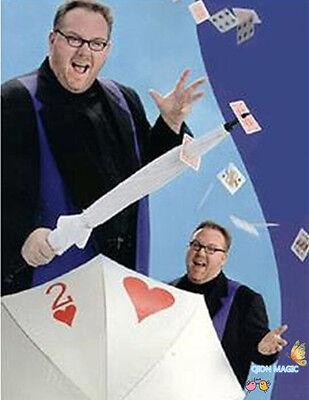 Got It Covered,Umbrella Card Sword Trick - Magic Tricks,Umbrella Thru Card,Stage