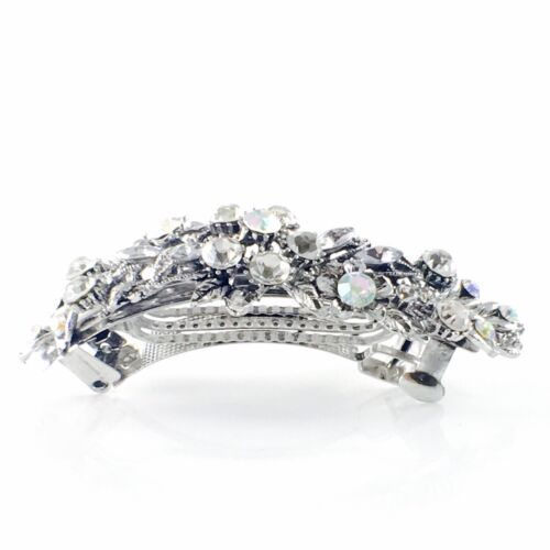 USA Vintage BARRETTE Rhinestone Crystal Hair Clip Hairpin Elegant Silver 5/_20
