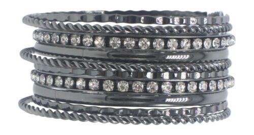 New Hematite Hammered Twist Rhinestone Crystal Bangle Bracelet Set NWT #B1219