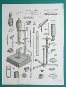 MISCROSCOPE-Compound-Double-Brewster-Reflecting-1818-Antique-Print