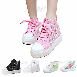 Scarpe-Estive-Donna-Sneakers-Scarpe-Sportive-Ginnastica-Platform-In-Pizzo-Fiore