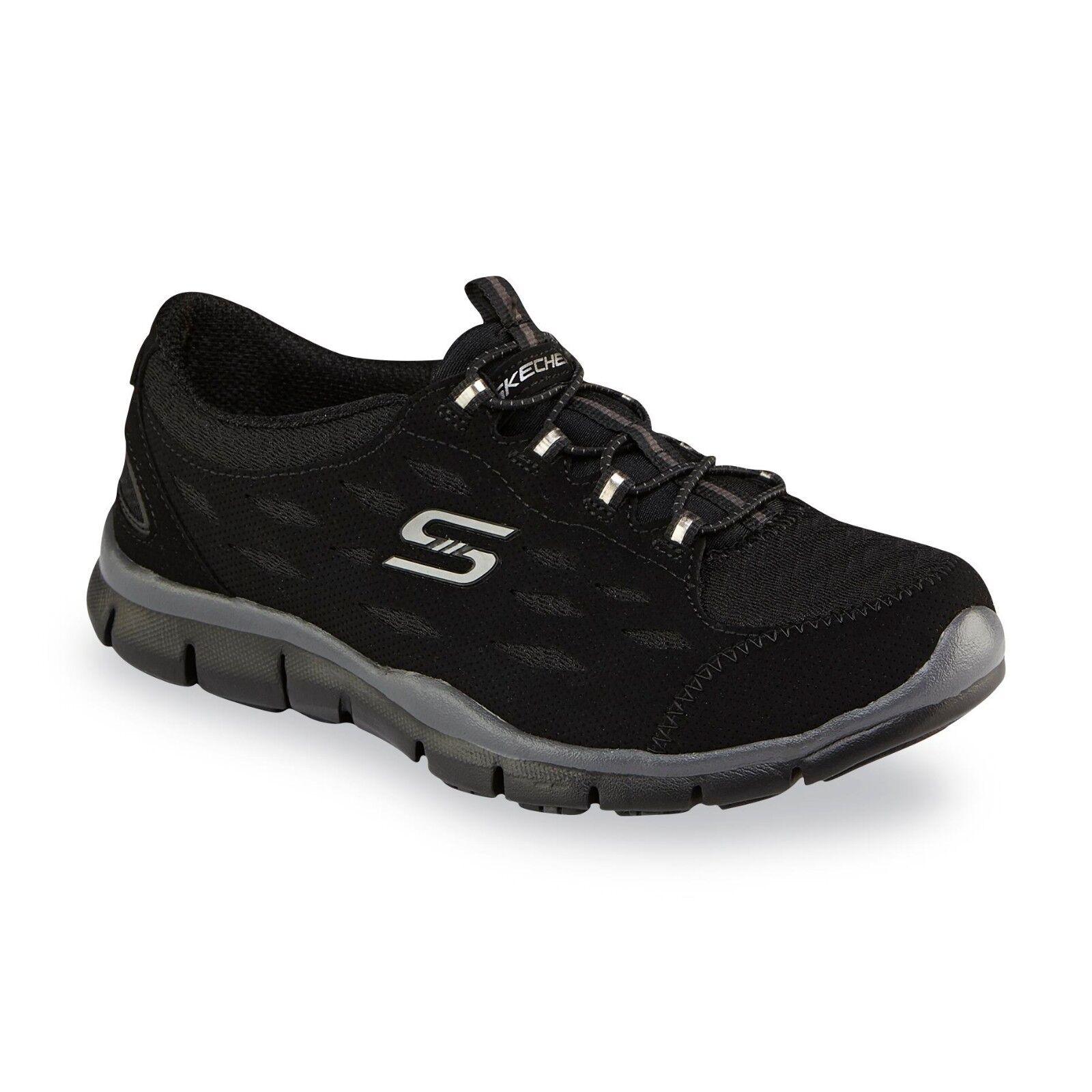 Mujer Skechers Gratis 22604 Negro Slip On Deportivo casual zapatos para caminar