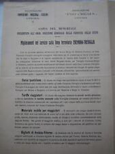 FERROVIE, MEMORIALE PEI MIGLIORAMENTI LINEA FERROVIARIA CREMONA-TREVIGLIO 1913