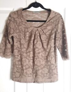 PLEIONE womens size M taupe floral sheer lace 3/4 sleeve boho top blouse