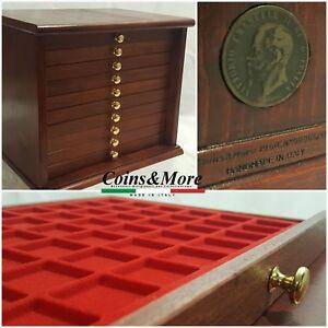 Monetiere-Medagliere-10-Cassetti-Artigianale-colore-Mogano-Coins-amp-More-Cabinet