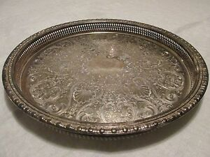 Large Vintage Round Silverplate TRAY Pierced GALLERY SHELL & SCROLL Motif 15""