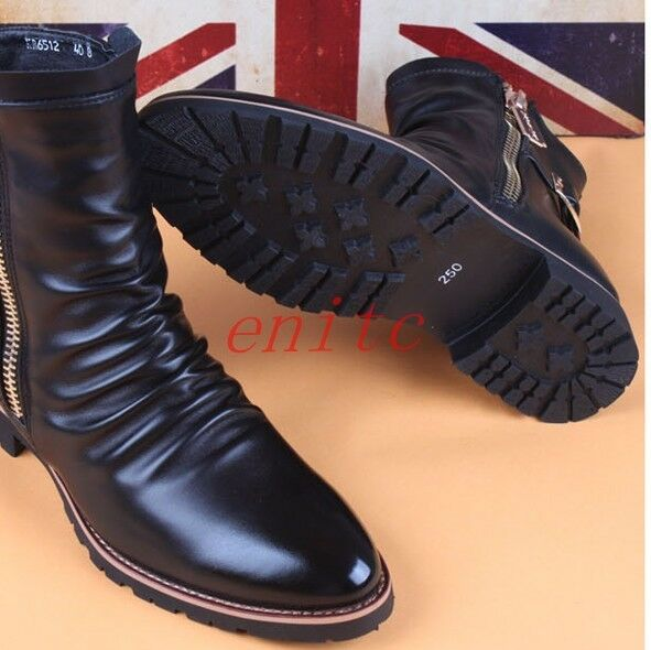 Mens Mens Mens Pu Leather High Top Shoes Side Zip Pleated Pointy Toe Casual Ankle Boots US bc0eb0