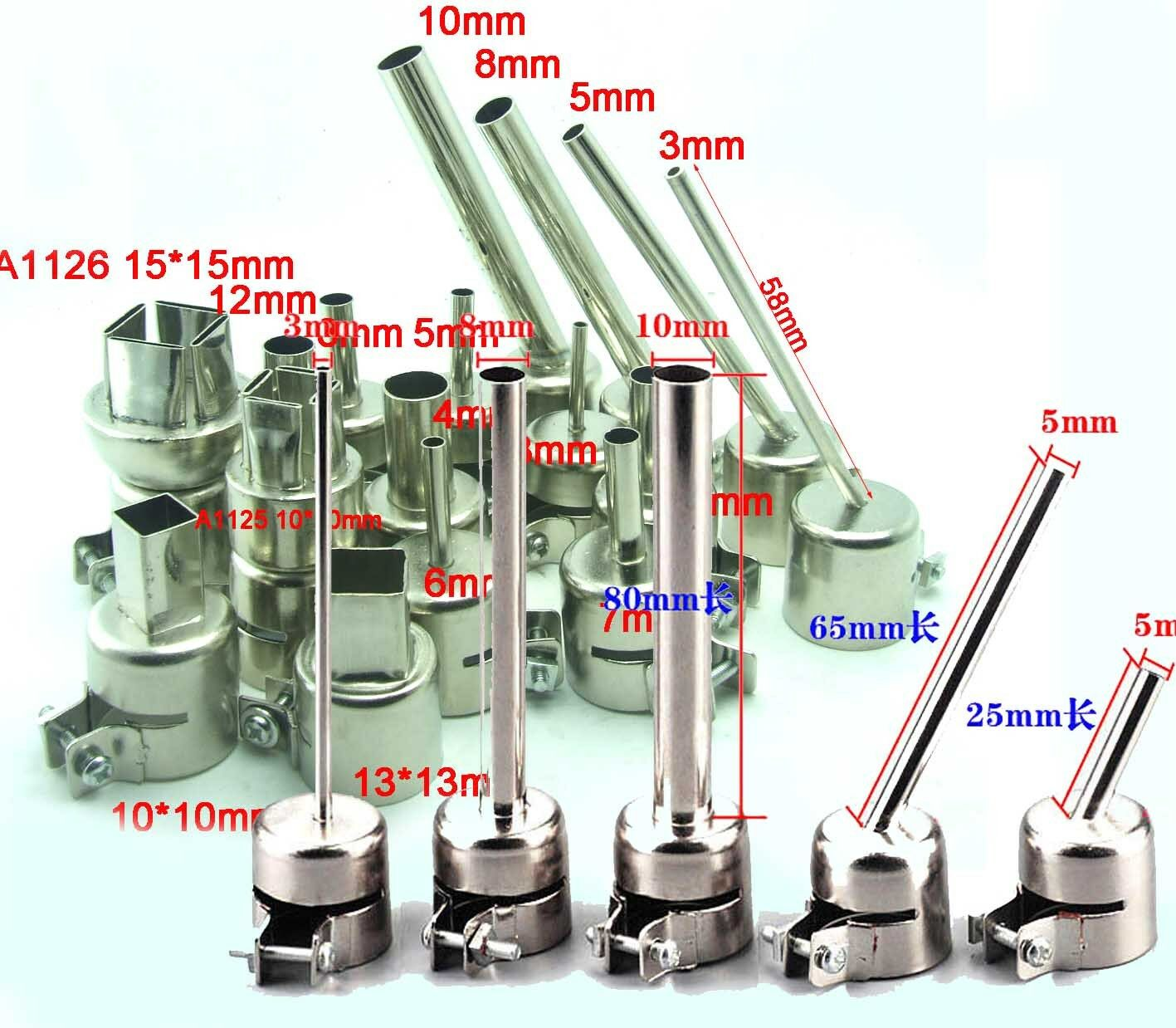 6mm Hot Air Nozzle for Rework Station bent single pipe soldering welding Ironing