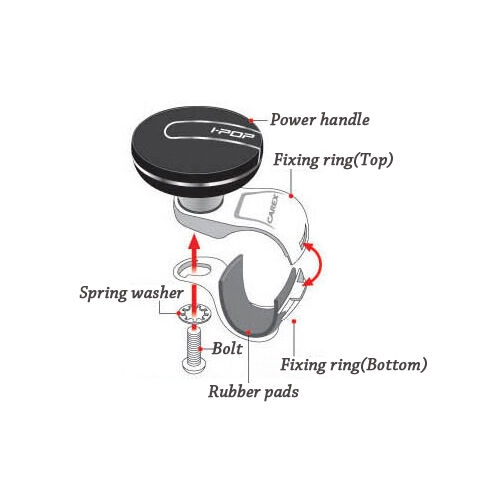 I-POP Chrome Black Car Steering Wheel Suicide Spinner Knob 1p