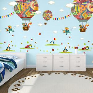 Nice Image Is Loading Colorful Hot Air Balloon Bear Giraffe Nursery Room