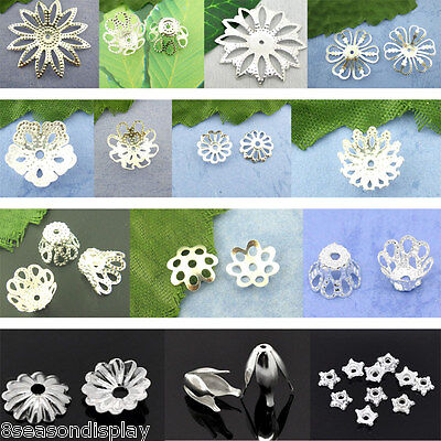 End Bead Caps Glasses Flower Silver Plated Middle Size Jewelry Findings