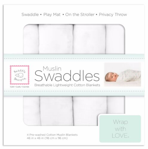 New! 4pk Pure White SwaddleDesigns Cotton Muslin Swaddle Blankets