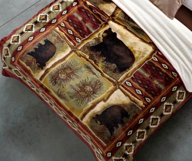 RUSTIC BLACK BEAR 79 x 96 QUEEN BLANKET : CABIN SOUTHWESTERN PINE FAUX FUR
