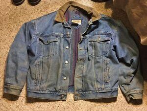 10108b422cd Image is loading Vintage-Wrangler-Hero-Blanket-Lined-Denim-Jacket-Trucker-