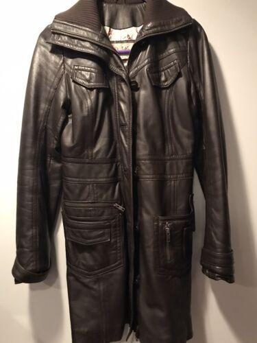 Miss Top Gun Leather Coat Womens Brown