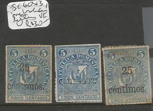 Dominican Republic SC 60 X3 One Faded Letters VFU (9chf)