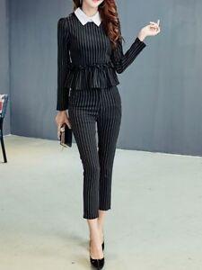 fff12a1441 Dettagli su Elegante Tailleur completo donna gessato camicia manica lunga  pantaloni 3920