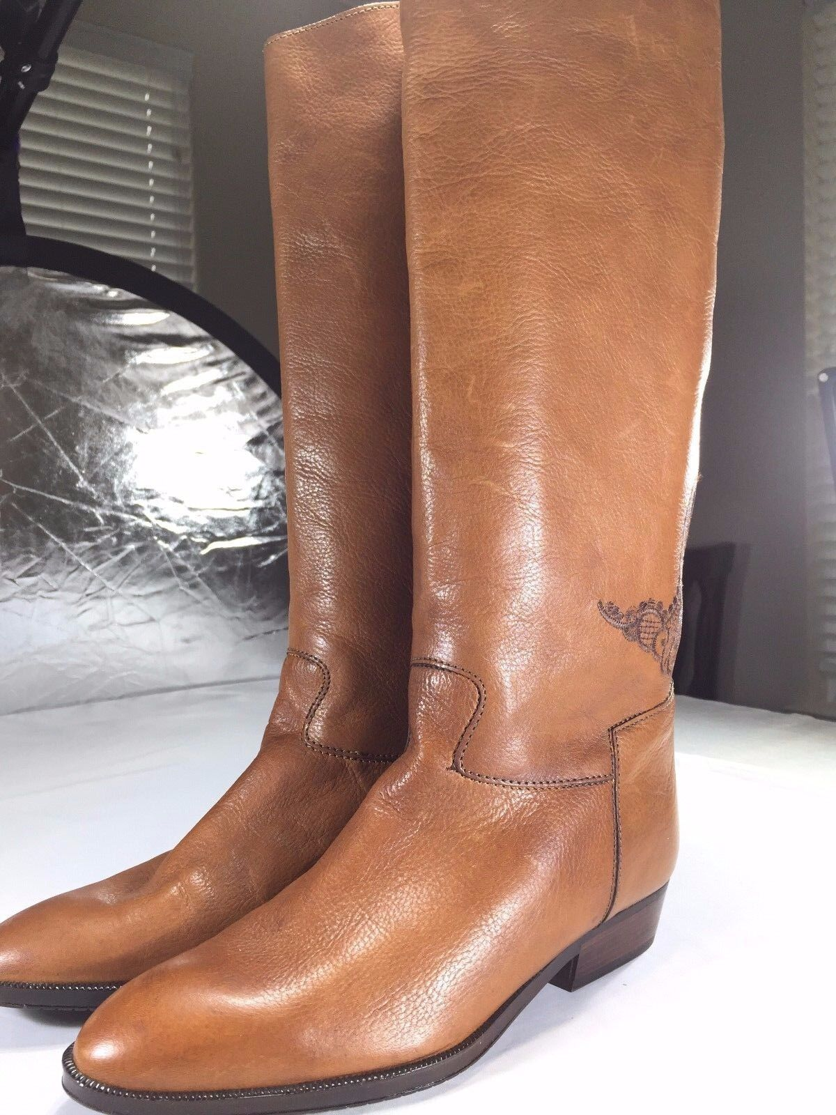 Genuine Made in  Leather Knee-high Stiefel, Italian Größe 40