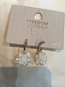 Freedom At Topshop Pearl Flower Cluster Gold Hoops Earrings