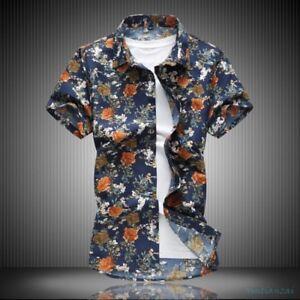 a284d60f5f5 Mens Summer Floral Slim Fit Causal DJ Shirts Hawaiian Shirt Printed ...